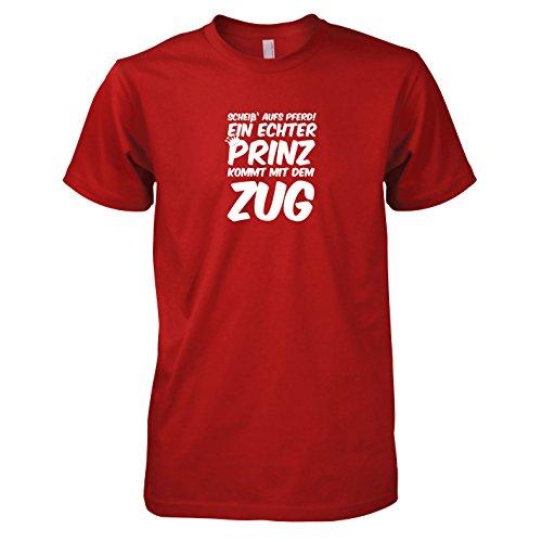TEXLAB - Ein echter Prinz kommt mit dem Zug - Herren T-Shirt, Größe L, rot (Pferd Zug Kostüm)