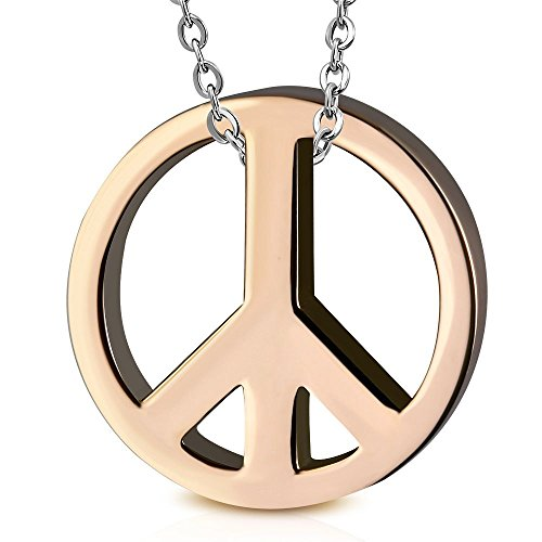 Peace Friedenszeichen Anhänger Rotgold rosé Edelstahl (Kettenanhänger Pendant Anhänger Amulett Medaillon Woodstock Love Charm Beads Chirurgenstahl Damen Herren Schmuck) ()