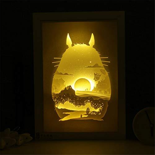Nachtlicht Kreative Nachtlicht Papier Gravierte Licht Totoro Licht Schatten 3D Papier Schnitzen Lampe Schlafzimmer Nachttischlampe Geschenk -