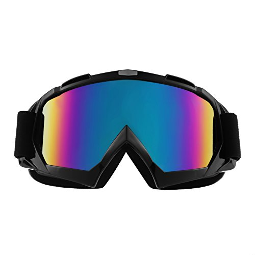 Sijueam Lunettes de Protection de Yeux Visage Masque pour sport de plein air Anti-UV coupe-vent Anti-sable Anti-poussière pour Activités Extérieures vélo Moto Cross VTT Ski Snowboard Cyclisme Goggles - Cadre Noir, lentille de couleu