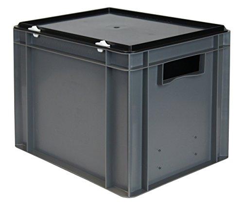 Euro-Stapelbox/Aufbewahrungsbox K-TK 4270-0, grau, mit schwarzem Verschluß-Deckel, 400x300x281 mm...