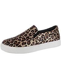 Mocasines de Mujer - Logobeing Mocasines Retro de Leopardo para Mujeres Lazy Flat Round Toe Casual
