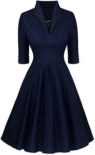 Angerella Profondo Scollo a V Partito di sera del vestito casuale Vintage Per Donna