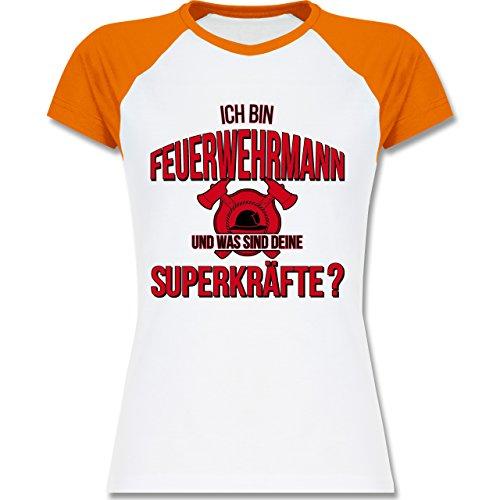 Feuerwehr - Ich bin Feuerwehrmann - Was sind deine Superkräfte - zweifarbiges Baseballshirt / Raglan T-Shirt für Damen Weiß/Orange