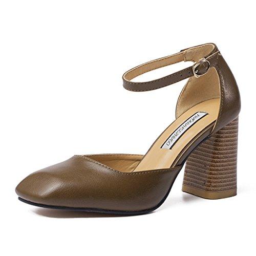Damen Pumps Eckig High Blockabsatz Schnalle Atmungsaktiv OL Arbeit Modische Bequeme Schuhe Schwarz,Grün