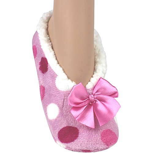 Women's Super Soft Sherpa Fleece Lined Stripy Slippers (UK 4-7) (Pink Polka Dot)