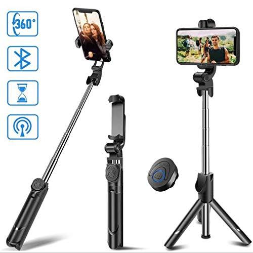 Handy Stativ Kamera Stativ Aluminium-Leichtbau Smartphone Stativ für iPhone/Samsung/Huawei GoPro und Kamera mit Bluetooth Fernbedienung Tragetasche und GoPro-Halterung (Color : Black) - Großes Tragetasche Gopro