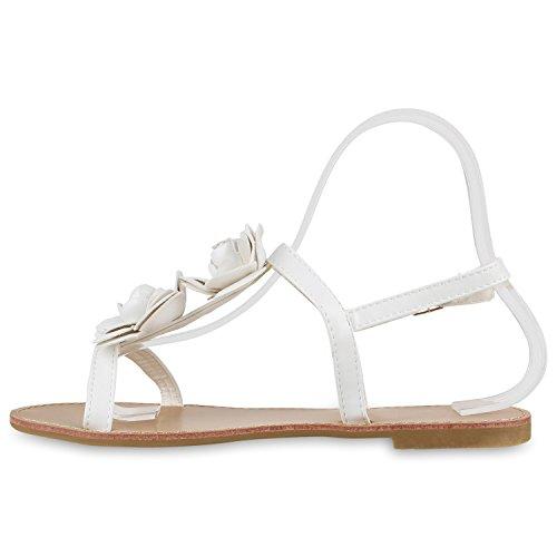 Damen Dianetten | Blumen Sandalen Zehentrenner | Sommer Schuhe Flats | Beach Zierperlen Weiss Blumen Schnalle