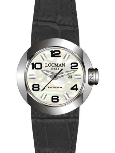 Locman One Donna - Reloj analógico de mujer de cuarzo con correa de piel negra - sumergible a 50 metros
