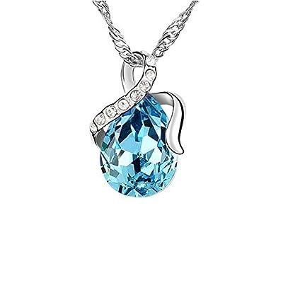 RareLove Swarovski Elements Aquamarine Crystal Teardrop pendant necklace