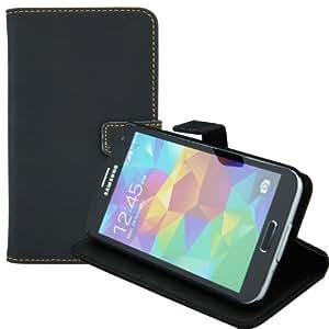 Bestwe PU Leder Schutzhülle Flip Tasche Hülle für Samsung Galaxy S5 Wallet Case mit Standfunktion (Matt Schwarz)
