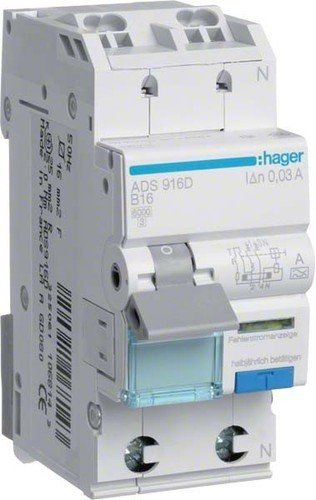 Hager ADS916D Fehlerstrom-LS-Schalter B 16A 30mA 2-polig 1-polig geschützt
