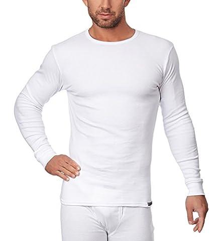 Sesto Senso Herren langarm Unterhemd (Weiß, M)
