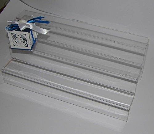 Dmd espositore a scaletta in plexiglass trasparente n. 3 ripiani largh. cm. 6 ca. dimensioni cm. 50 lungh. x cm. 18 h x cm. 18 largh.