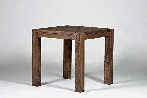 Esstisch ,,Rio Bonito,, 80x80 cm quadratisch, Pinie Massivholz, geölt und gewachst, Holz Tisch für Esszimmer, Wohnzimmer Küche, Farbton Cognac braun, Optional: passende Bänke und Stühle