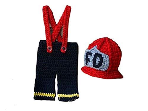 Kostüm Kleine Feuerwehrmann - Matissa Neugeborenes Baby Mädchen/Jungen häkeln Stricken Kostüm Fotografie Prop Outfits (Kleiner Feuerwehrmann)