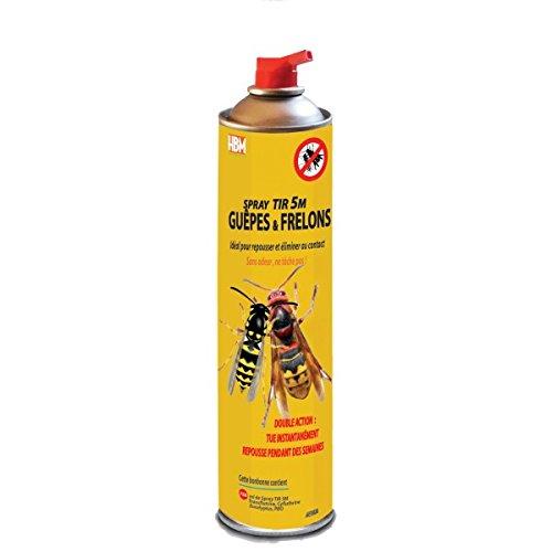 HBM Anti-Moustiques 001-GP-BMB005 Spray Tir 5M Guêpe/Frelon 750 ml