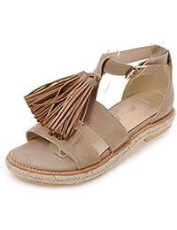 Sandalias Planas de Verano para Mujer, con Borla y cinturón de Ante, Zapatos cómodos