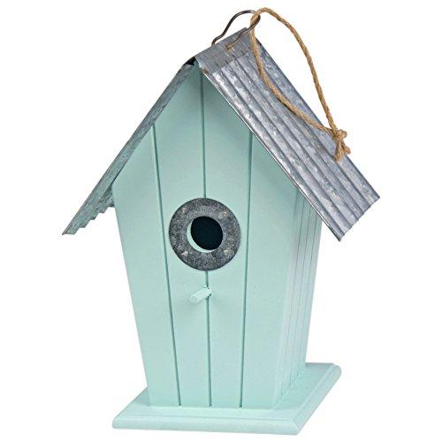 Shabby Chic Vogelhaus Holz mit Metall Dach Duck Egg grün