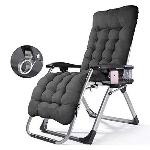 XEWNEGTY Deck Chair Lounge Chair, Freizeit Klappstuhl Mittagspause Tragbarer Sessel Home Mittagspause Stuhl 180 * 65 * 77cm (Farbe: Schwarz + Wattepad) (Farbe : Black+Black Cotton pad)