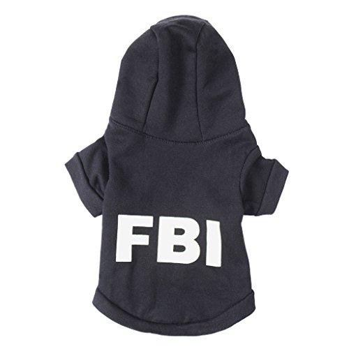 """""""FBI"""" Niedliche Haustier Hund Kleidung Hund Hoodie Katze Manteljacke Baumwollsocken Hunde Hoodies Schwarz/Rot XS/S/M/L"""
