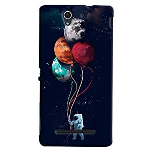 Mrigank Sony Xperia C3 / Dual Sim Mobile Phone Back Cover With Astronaut With Balloons - Durable Matte Finish Hard Plastic Slim Case
