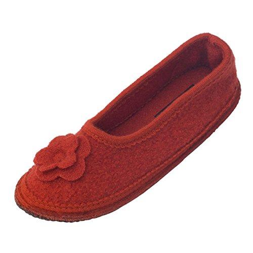Japanwelt bacinas Hausschuhe Damen | Warme Hausballerina 100% Schafwolle - Geschlossene Pantoffeln Wollwalk Sohle - Terrakotta Größe 38