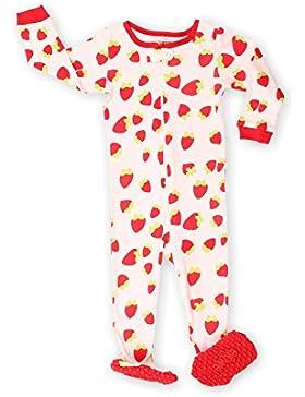Elowel Baby mädchen Größe 68 - 110 Einteiler Strampler Schlafanzug Schlafoverall Erdbeere 100% Baumwolle