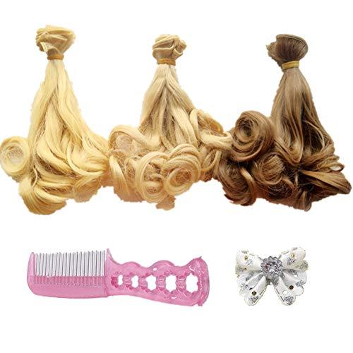 Fully 3stk. Puppen-Perücke Gewelltes Lockiges Haarperücke Haarteil 25 X 100CM/9.8 X 39 + 1 X Haarklammer + 1 X Kamm Kostüm Für DIY Puppen