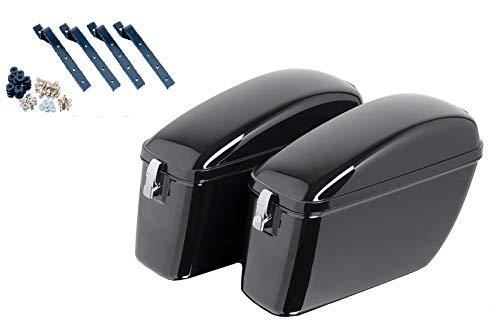 Customaccess AZ0974N Valises Rigides Customacces Silver (Paire) 20L + Kit de Montage Honda VT 750 C Shadow (RC50/08) '08-'09