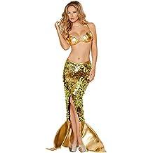 Disfraz Bikini Sujetador Cola de Sirena Cosplay Halloween Baile Disfraces Dress para Adultos Mujeres Niñas (L)