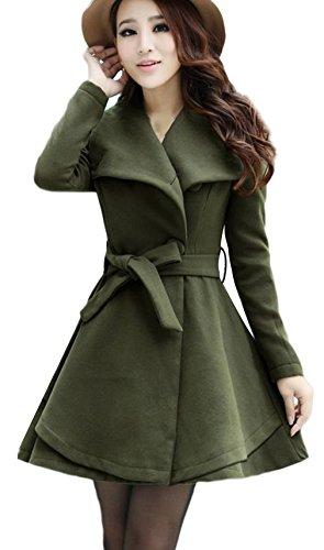 Lukis Damen Wollemantel Wintermantel Trenchcoat mit Gürtel Grün