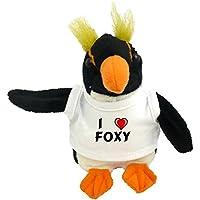 Shopzeus Pingüino personalizado de peluche (juguete) con Amo Foxy en la camiseta (nombre