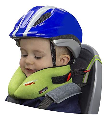 SANDINI SleepFix® Kids BIKE – Kinder Schlafkissen/Nackenkissen mit Stützfunktion, Temperaturausgleich – Kindersitz-Zubehör für Fahrrad und Fahrradanhänger – Verhindert Abkippen des Kopfes im Schlaf