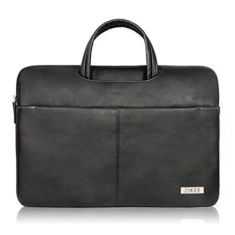 """Zikee MacBook Air/MacBook Pro 13 13.3"""" inch pelle il computer portatile Borsa Sleeve Case Cover Shell Protective Skin with handle and pockets - Water resistant PU leather Notebook Computer Briefcase Carrying Bag (Nero)"""