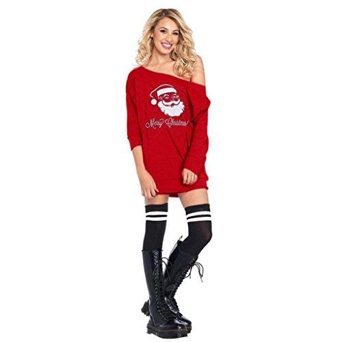 Damen Weihnachtskleid Sonnena Christmas Kleider Off Shoulder Abendkleid Lange Ärmel Kleid Vintage Swing Mini Kleid Partykleid Kostüm Kleid Großen Dress Top (Rot, XL) (Starke Frau Halloween Kostüm)