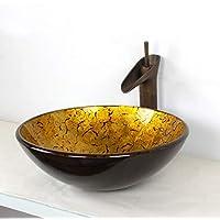 SryWj Lavabo De Lavado De Cristal del Lavabo Retro Europeo Creativo con El Lavabo del Arte del Gabinete