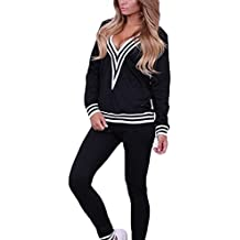 Chandal Mujer Ropa Deportiva Suave - Cómodo Trajes Yoga Fitness Pantalones  Jersey Manga Larga Juego Ropa 25946e0c48a1