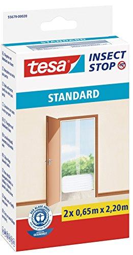 tesa Insect Stop STANDARD Fliegengitter für Türen - 2-tlg Insektenschutz Tür mit Klettband - Fliegen Netz ohne Bohren - Weiß, 2 x 65 cm x 220 cm (Fallen Vorhang Wieder)