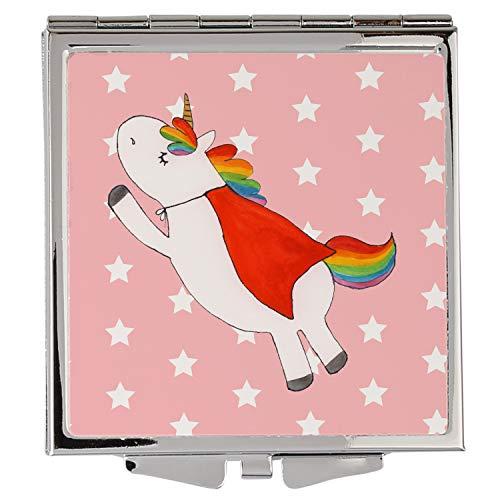 Mr. & Mrs. Panda Silber, schminken, Handtaschenspiegel quadratisch Einhorn Superman Geburtstag - Farbe Rot Pastell