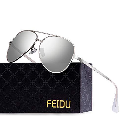 FEIDU Polarisierte Pilotenbrillen Männer Metallrahmen Frauen FD9009 (Silber)