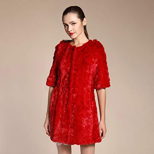 ZYJANO Warmer Mantel,Herbst Winter Frauen echte echte SplicedCoat Half Sleeve LadyOberbekleidung 5