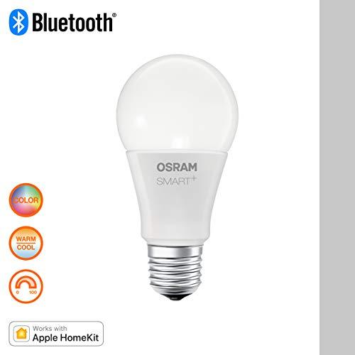 Osram Smart+ Lampadina LED Bluetooth Compatibile con Apple HomeKit e Android. Goccia, E27, 60 W Equivalenti, Luce Colorata RGBW