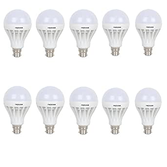 Frazzer 15W White LED Bulb (Set of 10) - Premium Quality/ Ultra Bright/ Long Life/ Energy Saver ( Cool Day Light)