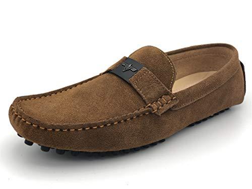 Elifano Elong Männer Klassischer weicher Mokassin echte Lederschuhe Müßiggänger für Männer Niedrige Schuhe Fahren (43 EU, Camel)