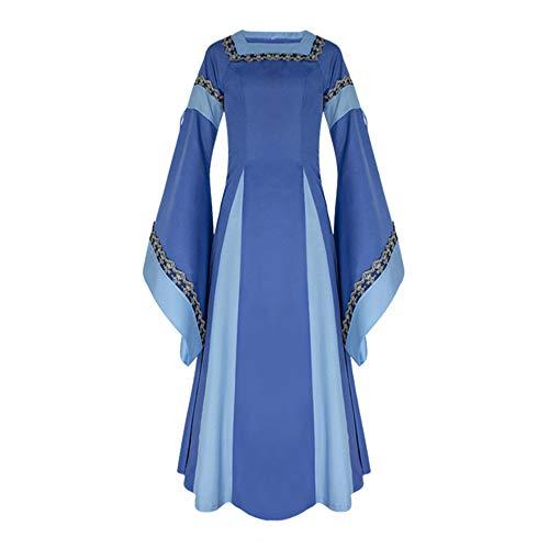 ♥ Loveso♥ Fashion Damenbekleidung Damen Mittelalterliche Kleid mit Trompetenärmel Mittelalter Party Kostüm Maxikleid Elegante Bekleidung