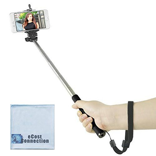 eCostConnection 43 inches / 3.6' feet Selfie Extension Pole Monopod for Apple iPhone 6s 6s Plus iPhone 6 iPhone 6 Plus iPhone 5c iPhone 5s iPhone 5 iPhone 4s iPhone 4 Samsung Galaxy Note 4 Galaxy Alpha Galaxy Mega 2 Galaxy Note Edge Galaxy S5 Galaxy S4 mini Galaxy S4 & Other Smartphones + eCost Microfiber Cloth | Black