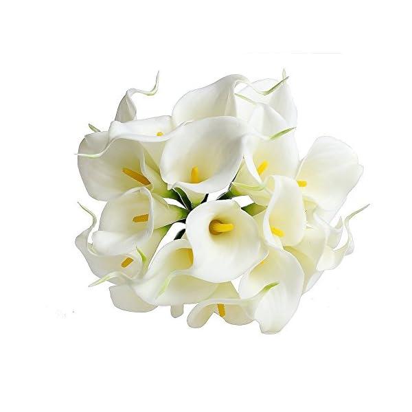 TOOGOO(R) – Ramo artificial de lirios de agua para novia (20 flores, látex, tacto natural)