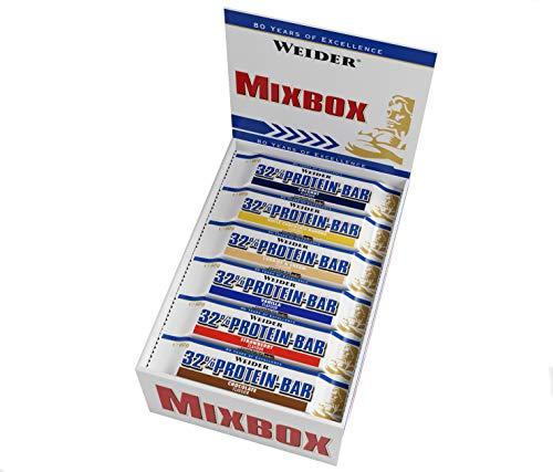 Weider 32{ce502a472b31f96b898b1acf3ef60cc69dab53ebfe1a8da28e45acb6b1784ea7} Protein Bar, Mix-Box, 1er Pack (24x 60g Riegel)