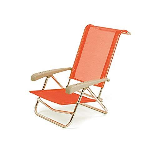 Spiaggina in alluminio sedia mare con schienale reclinabile arancione solero